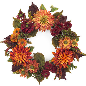Falling Leaves Collection Dahlia Wreath