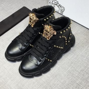 Versace Men's Leather Fashion High Top Sneakers Shoes