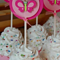 Butterfly Birthday Party Cupcake Toppers (set of 12)