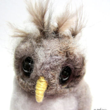 Little owl, needle felted, baby barred owl, cute bird, woodland animal, gray feathers owlet sculpture, fluffy bird baby animals, gray birdie