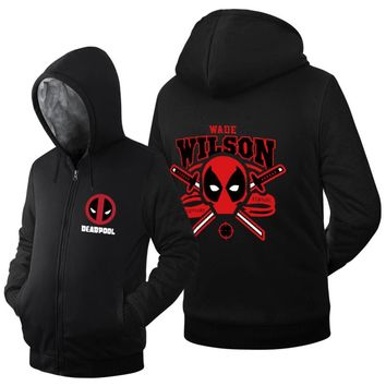 2017 spring winter new arrival warm fleece Dead Pool men hoodie hip hop streetwear Deadpool hoodies Zip Up Sweatshirts coat