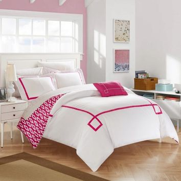 Chic Home 3-Piece Xanti Contemporary Greek Key Embroidered REVERSIBLE Twin X-Long Duvet Cover Set Fuchsia Shams and Decorative Pillows included - Walmart.com
