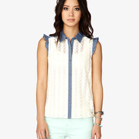 FOREVER 21 Chambray-Trimmed Crochet Lace Top Cream/Blue