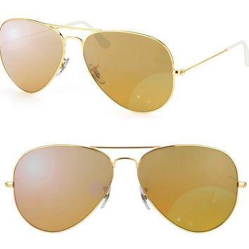 New Authentic Ray-Ban Aviator Sunglasses RB 3025 001/3K 55mm GOLD Mirror Shaded