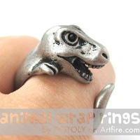 Large 3D Prehistoric Animal Wrap Around Hug Ring in Silver Sizes 4 - 9