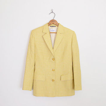 miss v valentino blazer, valentino miss v blazer, yellow blazer, yellow tweed blazer, yellow houndstooth blazer, yellow tweed jacket 42 8 m