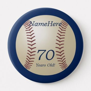 70 Years Old, Baseball on Blue Button Pin