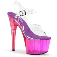 Purple Tinted Ankle Strap Sandal 7 Inch Heels-Stripper Shoes
