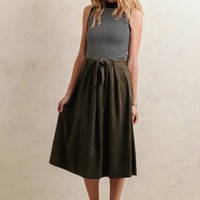 Bay Leaf Faux Suede Midi Skirt