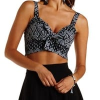 Black/White Bandanna Print Bow-Front Crop Top by Charlotte Russe