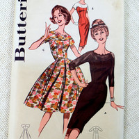 Vintage Pattern Butterick 9565 1960s Rockabilly prom dress new look Bust 32 Formal Full pleated skirt scalloped Pinup Bombshell Sheer 1950s