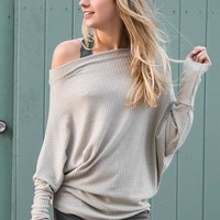 Harmony Off Shoulder Relaxed Knit - Dusty Sage