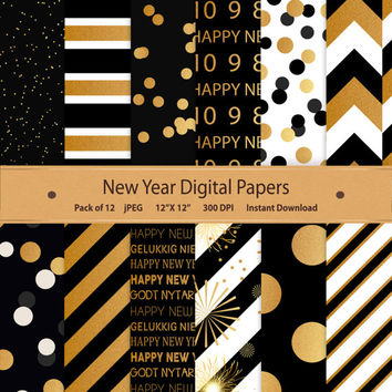Happy New Years Digital Paper Black & Gold Celebration Party Scrapbook Commercial Eve Background Backdrop Invitation Cards Printable Pattern