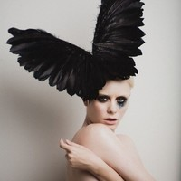 Couture Black Wings, Fashion Headpiece, Fascinator