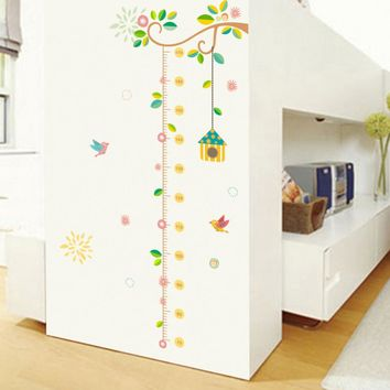 Family Tree Height Measure Wall Sticker For Kids Room Birds Growth Chart Home Decor Wall Decals Murals Poster Nursery Room Decor