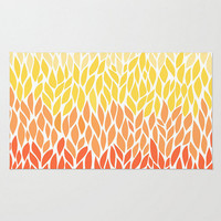 Area Floor Rug Yellow Orange Ombre Leaf Design Design Pattern Throw Woven Rectangle Modern Home Decor