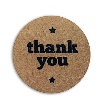 126 Kraft Paper Thank You Stickers, 1 inch