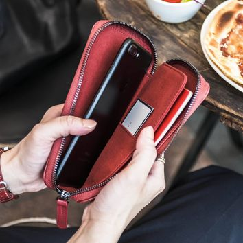 Dakota v2 Genuine Leather Zipper Travel Wallet - Burgundy