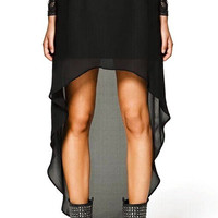 Black Asymmetric Chiffon Skirt
