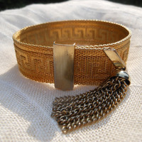 Greek Key Adjustable Clasp Bracelet 1960s Victorian Revival Gold Tone Woven Mesh Metal Tassel Dangle Buckle Closure Greek Replica Grecian