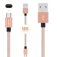 10FT Samsung, iPhone, Android Smartphones and More USB Cable Nylon Braided Tangle-Free High Speed Charging Cord