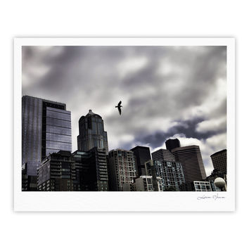 "Sylvia Cook ""Seattle Skyline"" City Clouds Fine Art Gallery Print"
