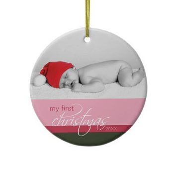 Baby's 1st Christmas Custom Ornament (pink) from Zazzle.com
