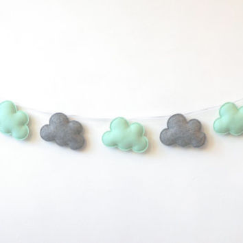 Cloud Garland, Mint Green and Grey Clouds, Cloud Banner, Mintgreen garland, nursery decor, photo prop, baby shower gift, new baby