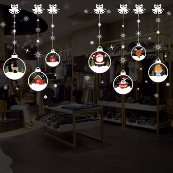 Merry Christmas Removable DIY Wall Stickers Shop Window Stickers Noel Christmas Decorations for Home Natal New Year Decoration