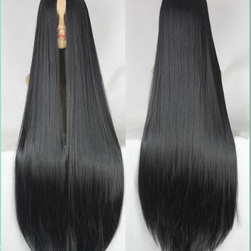 Black Wig Fei-Show 100CM/40 Inches Synthetic Long Peruk Costume Cartoon Role Cosplay Straight Wigs Middle Part Line Hairpiece
