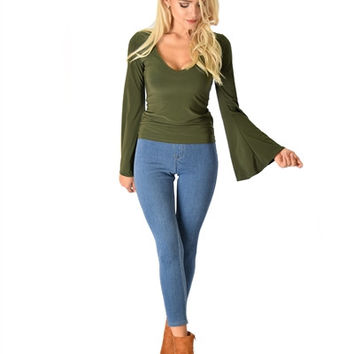 Olive Plunging V-Neck Bell Sleeve Top