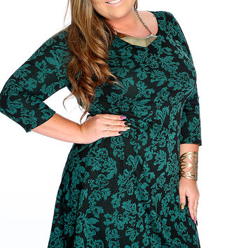 Teal Long Sleeves Filigree Print Plus Size Party Dress