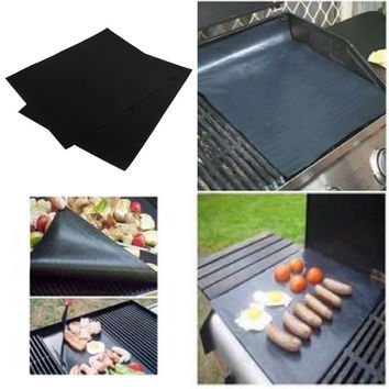 2 pcs New Hot Reusable BBQ Grill Mat Sheet Hot Plate Portable Easy Clean OutDoor Nonstick Bakeware cooking tool bbq accessories