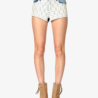 Embroidered Mineral Wash Denim Shorts