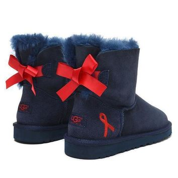 PEAP UGG Fashion Women Bow Fur Wool Snow Boots Shoes