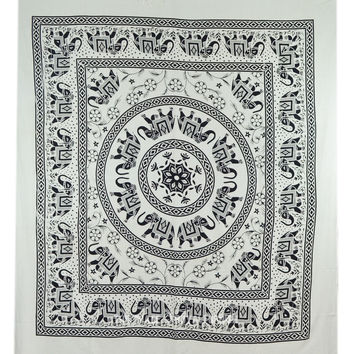 Large Black and White Elephant Mandala Tapestry Bedding Bedspread on RoyalFurnish.com
