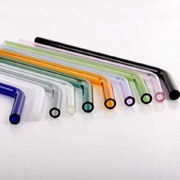 Clear&Colorful Pyrex Bent Glass Drinking Straw reusable straws Wedding Birthday Party Diameter 8mm for Kitchen Dining Bar