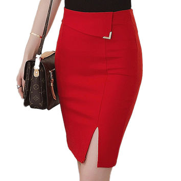 Knee-Length Bodycon Pencil Skirt