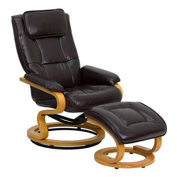 Contemporary Comfortable Brown Soft Leather Recliner and Ottoman Set