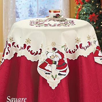 Mr. and Mrs. Santa Claus Kissing Couple Table Square