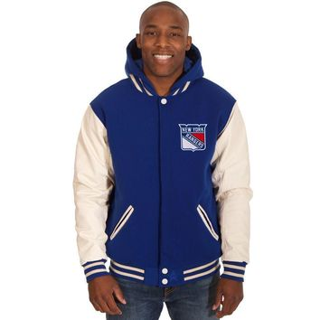 New York Rangers Fleece/Faux Leather Hoodie Jacket - Royal Blue