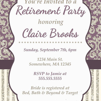 Printable Custom Retirement Party Invitation. Purple, Off White, cream, Glitter,  Demask, White Retirement party Invite. PDF invitation.