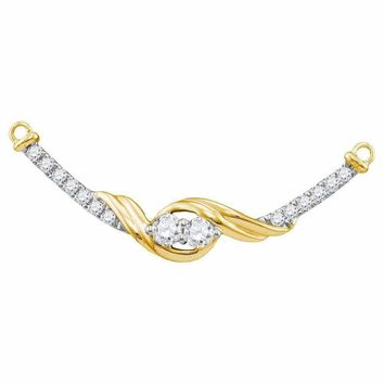 14kt Yellow Gold Women's Round Diamond 2-stone Hearts Together Bar Pendant Necklace 1-3 Cttw - FREE Shipping (US/CAN)