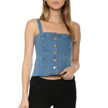 W.A.P.G. Denim Button Up Crop Top