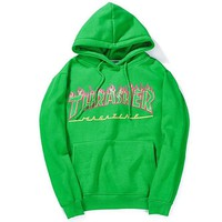 Men/Women sportswear Thrasher hoodie flame skateboard dead fly west hip-hop harajuku hooded fleece Thrasher THRASHER sweatshirt Green