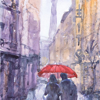 Paris, art, watercolor painting, rain, paris is always a good idea, love, umbrella, eiffel tower print, Illustration, bedroom decor, valrart