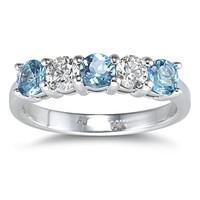 5 Stone Blue Topaz and Diamond Ring in 14K White Gold