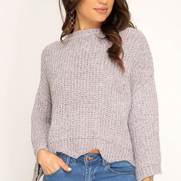 Wide 3/4 Sleeve Sweater Top with Scalloped Hem - Stone