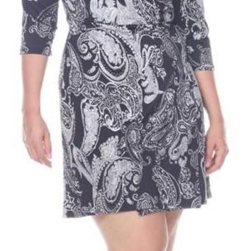Plus Size Mariah Paisley Print Wrap Dress Short Cover Up 3/4 Sleeves