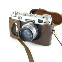 Zorki 6 Russian Leica Type Camera 35mm Film, Lens Jupiter - 8, Made in USSR, Leather Case Father's day Gift Leica Copy